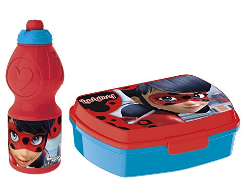 Ladybug miraculous set box colazione borraccia merenda lunchbox porta panini