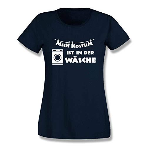 (Jimmys Textilfactory T-Shirt Mein Kostüm ist in der Wäsche Karneval Fasching Volksfest Fun JGA Rosenmontag Weiberfastnacht Sitzung 15 Farben Damen XS-3XL, Größe:XL, Farbe:Navy - Logo Weiss)