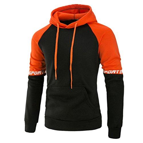 L/s Zip Pullover (Hoodie Herren Kapuzenpullover Sannysis Sweatshirt Kapuzenpulli Pullover mit Kapuze (L, Orange))