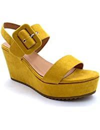 Angkorly - Scarpe Moda Mules Sandali Vintage retrò Zeppe Donna Fibbia Tacco  Zeppa Piattaforma 10 61f52f136fb