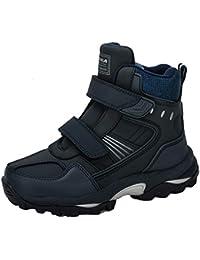 2020 Botas de Nieve para niños Botas cálidas de Invierno Moda Cuero más Terciopelo Zapatillas cálidas cómodas Plataforma Antideslizante Zapatos Planos