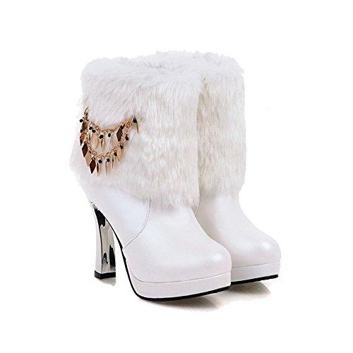 VogueZone009 Damen Hoher Absatz Eingelegt Rund Zehe Ziehen Auf Stiefel Weiß