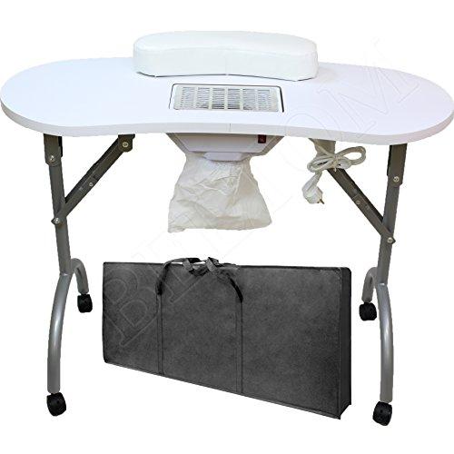 Beltom Table DE MANUCURE avec ASPIRATEUR Pliable TRASPORTABLE + Sac Ne pèse Que 12 KG !