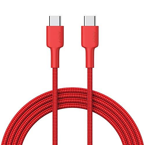 AUKEY Cavo USB C a USB C 2m Nylon con Connettore Alluminio Fibra Aramide Trasmissione Dati Carica Cavi USB Type C per Samsung Note 9 8 S10 S9 S8 +, MacBook Air, iPad PRO 2018, Nexus, Switch, Huawei