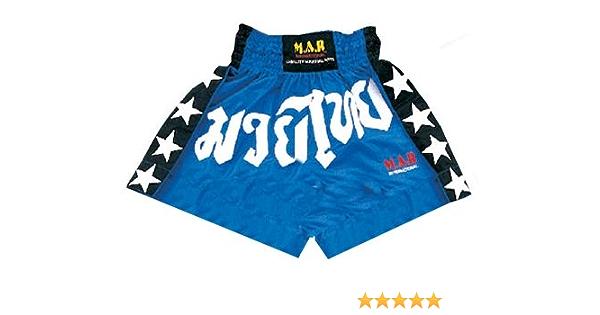 M.A.R International Ltd Short de Boxe tha/ïlandaise et Kickboxing en Polyester satin/é pour Enfant Noir//Rouge Taille M//XS