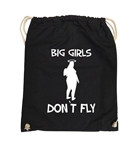 Comedy Bags - BIG GIRLS DON'T FLY - Turnbeutel - 37x46cm - Farbe: Schwarz / Pink Schwarz / Weiss
