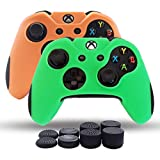 Skin Coque Lot 2pour Xbox One/Xbox One Fin/Manette Xbox One X Double Plus épais Coque en Silicone antidérapant Grip étui Protecteur–8PCs Pro Pouce Grips- Vert + Orange