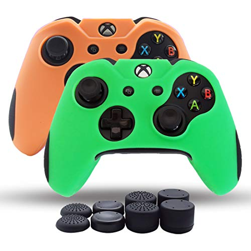 Tao-elektronik (Haut Cover Pack 2Für Xbox One/Xbox One Slim/Xbox One X Controller Dual Dicker Silikon Haut Rutschfeste Grip Case Displayschutzfolie-8Pro Daumen Grips- grün + Orange)