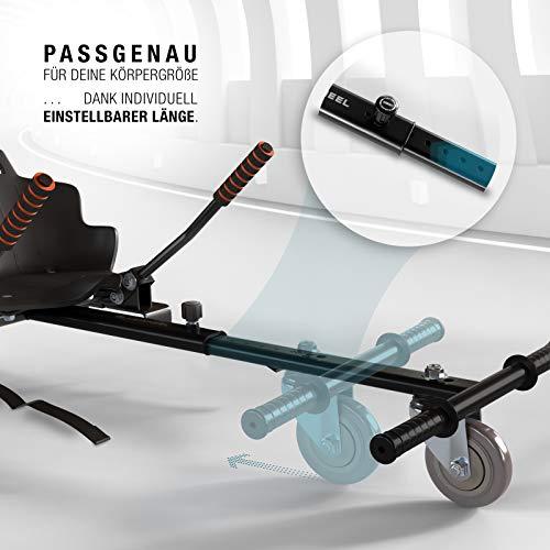 Bluewheel Hovokart HK200 Sitz Erweiterung für 6, 5 – 10 Zoll Hoverboard, E-Kart, Elektro Go-Kart, Sitzaufsatz, Schalensitz & Umbausatz, anpassbarer Stahl-Rahmen - 4