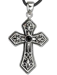 Anhänger Kreuz mit Ritterlilien und schwarzem Zirkonia Edelstahl inkl Lederband