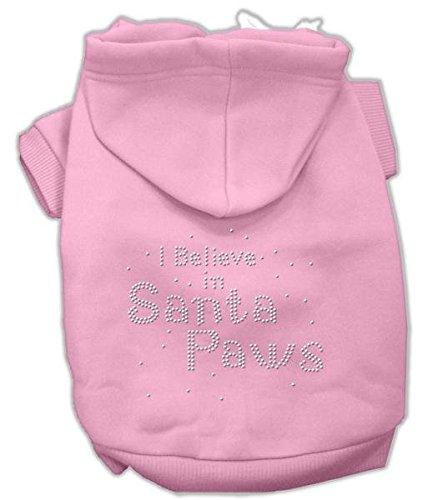 Mirage Pet Products 18 I Believe In Santa Paws Hoodie, XXL, pink (Santa Hoodie Paws)