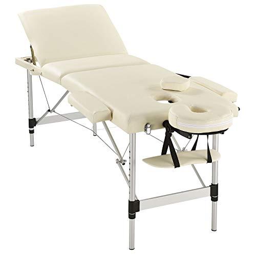 Juskys Massageliege mit Aluminiumgestell - beige 180x60 cm