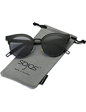 SOJOS Gafas De Sol Unisex Modernas Vintage Forma Pantos Lentes Redondas Espejo SJ1055