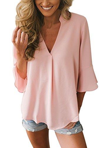 Aleumdr bluse e camicie manica a campana camicie da donna eleganti tinta unita blusa collo v pullover - rosa