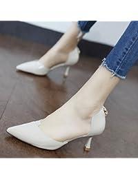 Xue Qiqi Sugerencia hollow solo zapatos luz femenina es un simple paint para fijar el pie fino cuero alta profesional-Heel...