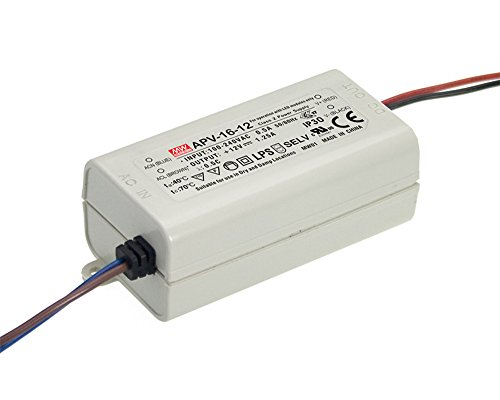 Mean Well, changer la source d'alimentation Converter pour la lumière de bande flexible de LED, Transformateur, 110/220 V AC-DC Switching Power Supply 16 W 24 V 0.67 A (APV-16 - 24)