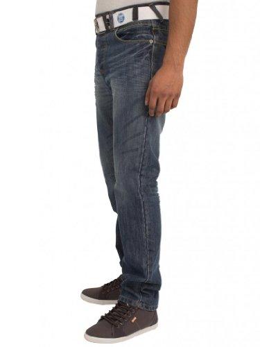 ENZO Herren Straight Leg Denim-Jeans Mit Regulärer Passform Hosen Klappe Taschen Und Gratis Gürtel Waist 28-48 Helle Waschung