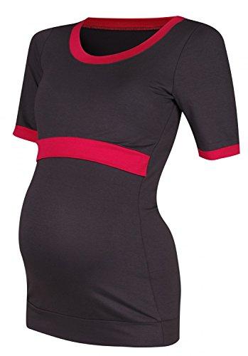 Happy Mama. Femme Top maternité allaitement couches détails de contraste. 965p Graphite & Framboise