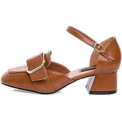 Damen Mitte Blockabsatz Herzmuster Mary Jane Mittlerer Hohe Absatz Ausschneiden Pumps Klassisch Schuhe Größe