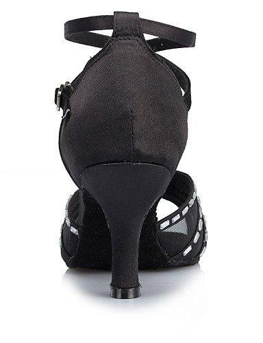 ShangYi Chaussures de danse(Noir / Blanc) -Personnalisables-Talon Aiguille-Satin-Latine / Moderne Black