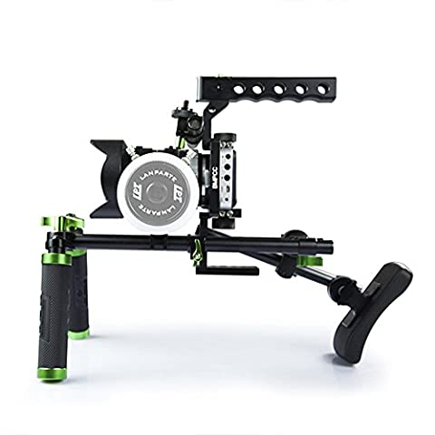 Lanparte BMPCC-02 BlackMagic Pocket Cinema Basic Kit Top Handle Rig Kit with Camera Protection Cage for Sony A7S Panasonic GH3/ GH4
