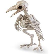 Tinksky Crazy Bone Skeleton Raven 100% Plastic Esqueleto Animal Huesos Horror Halloween Decoración Halloween Prop Pájaro Cuervo Esqueleto Decoración