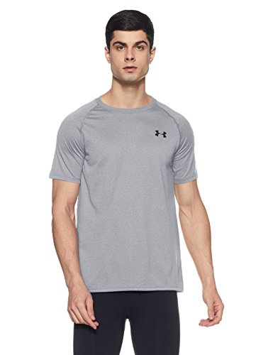 Under Armour Herren UA Tech Ss Fitness T-Shirt, Grau (True Gray Heather), L