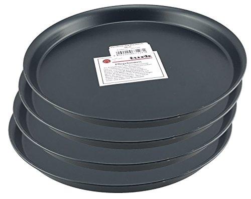 Pizzablech / Pizzaform / Pizza-Backblech, rund, unbeschichtet, für Steinofen geeignet, hitzefest bis 400°, Gastronomie geeignet, aus Blaublech geschmiedet von Turk, 4er Set (Durchmesser: 28cm)