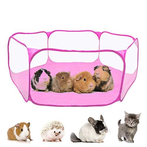 Haustier Chinchilla Kostüm - RYPET Meerschweinchen-Zubehör für Meerschweinchen, Kaninchen, Hamster, Chinchillas und Igel, S, Guinea Pig Playpen(Pink)