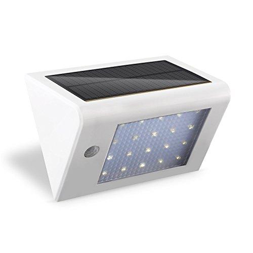 Deckey LED Solarleuchte mit Bewegungsmelder 20 LEDs Solarlampe Wandleuchte Außenleuchte 3W Kaltweiß (1 Stück, Weiß)