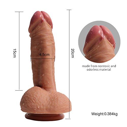 Pure Zwei-Layer-Silikon Dildo Soft Outside und Firm Inside Penis mit starken Saugnapf Real Dong Penis Nachbildung, Haut - 4