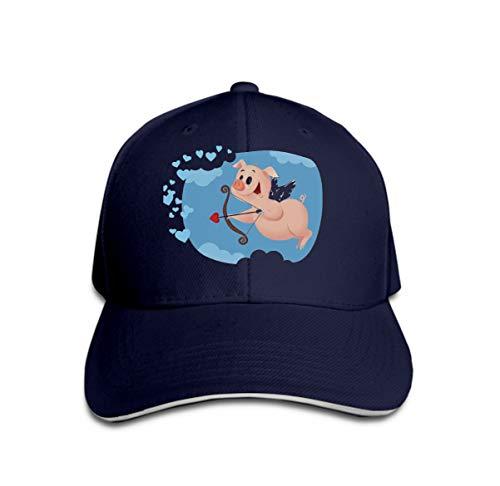 Adult Adjustable Structured Baseball Cowboy Hat Cupid Pig Funny Cartoon Sweet Character Flying Valentine Card c Navy (Sweet Angel Kostüm)