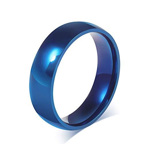 LOUMVE Plain Band Edelstahl Freundschaftsringe Blau 6MM Ringe Partnerringe mit Gravur Größe 72 (22.9)