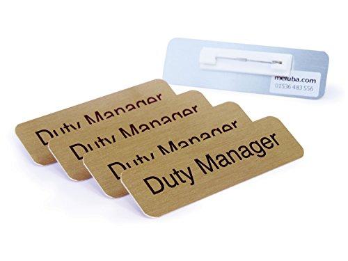 meluba Buttons   Pflicht Manager Badge-Brushed Gold Aluminium mit Pin Armatur-70x 20[5Stück]