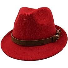 JUJIANFU-Sombrero de Personalidad Mujeres Hombres Lana Sombrero Fedora Moda  Sombrero Cinta de Cuero Caballero e3fc6a498f8