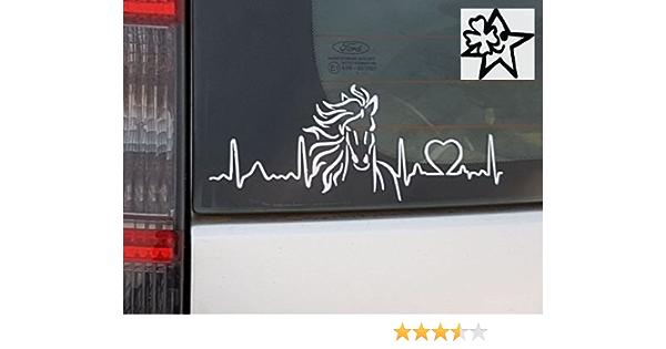 Herzschlag Aufkleber Horse Pferde 20cm Sticker Herz Fan Hobby Leidenschaft Liebe Für Auto Autoaufkleber Auto