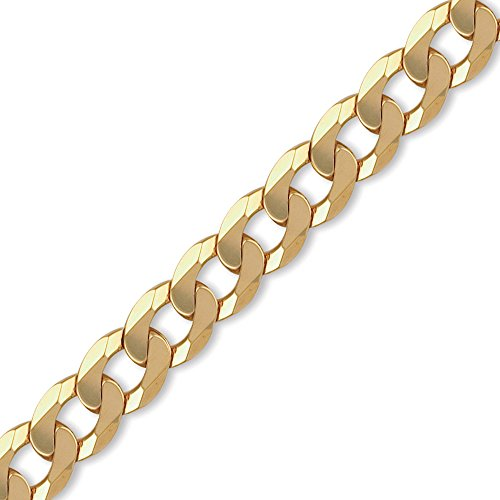 Jewelco London Men's Solid 9ct Yellow Gold Traditional Heavy Weight Curb Link 14mm Gauge Chain Necklace, 20 inch
