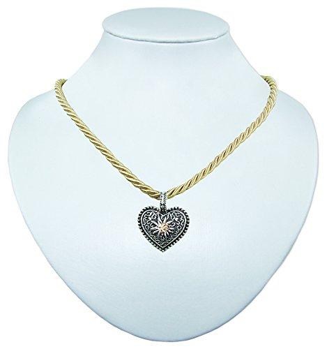 Schmuck Halsketten Trachten Gold (Kordel Halskette Mina mit Herz und Strass -)