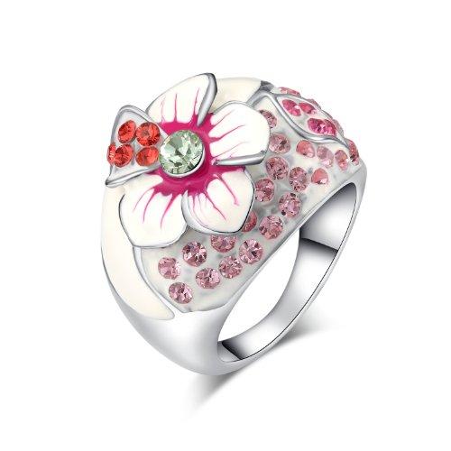 Yoursfs Bague fantaisie fleur 18k plaqué Or blanc Solitaires en Cristal australien rose pavés pour Femmes ou filles comme Accessoire