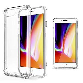 Moozy Transparent Silikon Hülle für iPhone 7 / iPhone 8 - Stoßfest Klar TPU Case Handyhülle Schutzhülle