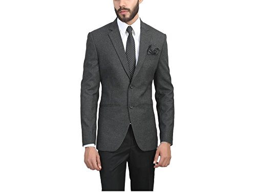 ManQ Charcoal Grey Slim Fit Formal/Party Men's Blazer  available at amazon for Rs.1750