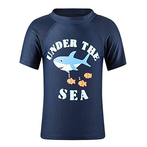 ESTAMICO Kleinkind Jungen Rash Guard Kinder Sonnenschutz UV UPF 50+ Kurzarm Sommer Schwimmen Shirt Marine 2 Jahre