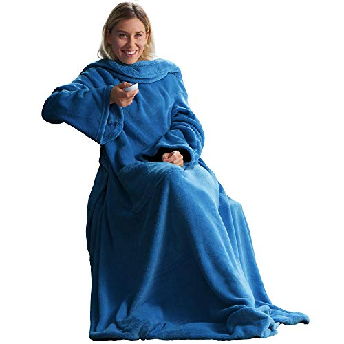 CelinaTex TV-Decke Kuscheldecke mit Ärmeln und Fußtasche 150 x 180 cm blau Coral Fleece Tagesdecke Ärmeldecke