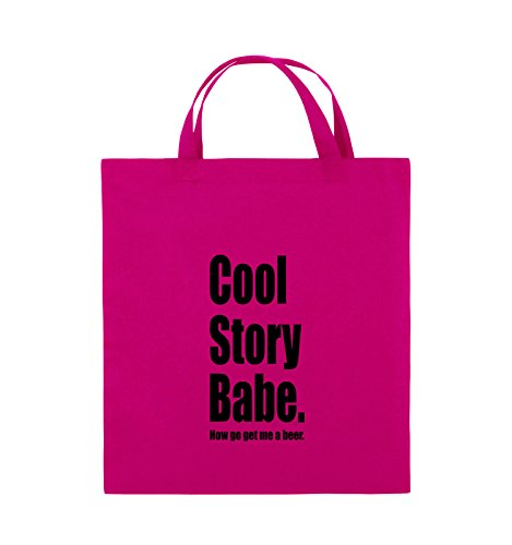 Comedy Bags - Cool Story Babe Now get me a Beer - Jutebeutel - Kurze Henkel - 38x42cm - Farbe: Pink/Schwarz Babe-outfit