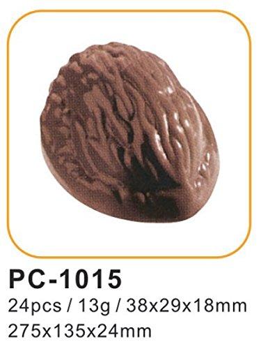 Silicone-Bakeware® Lot DE 24 moules à Chocolat en Polycarbonate en Forme de Noix 27,5 x 13,5 x 2,4 cm