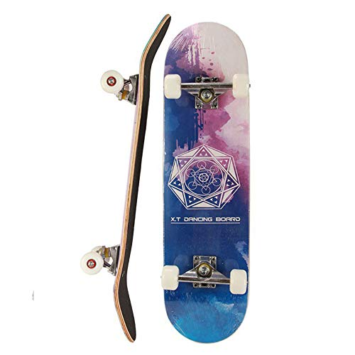 Zysmc skateboard a quattro ruote, principiante professionale double-up skateboard, ragazzi adulti e ragazze road maple skateboard, pacchetto regalo,3