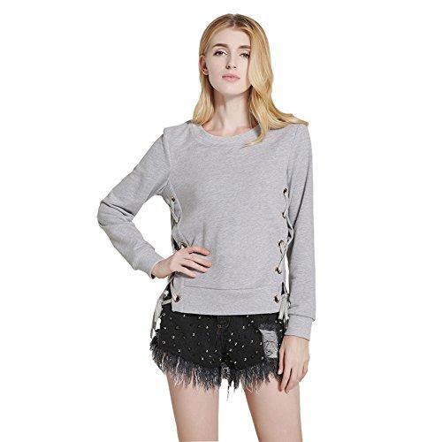 Besporter - Sweat-shirt - Col Rond - Manches Longues - Femme Gris