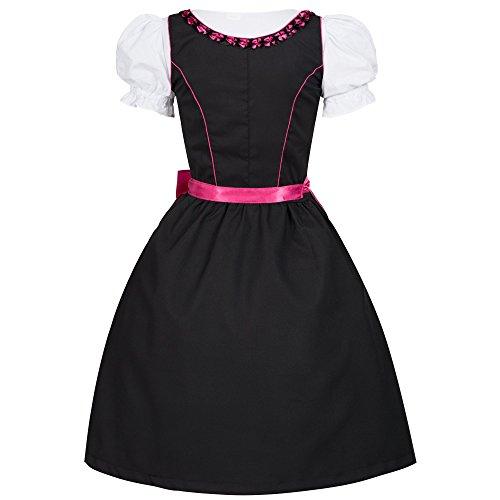 Dirndl Iwona schwarz mit Schürze pink Gr. 44 - 3