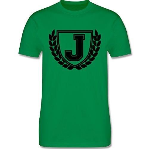 Anfangsbuchstaben - J Collegestyle - Herren Premium T-Shirt Grün