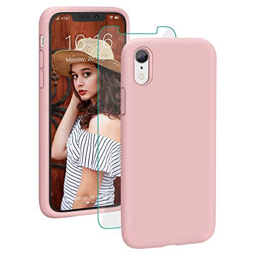 ProBien Hülle für iPhone XR,Silikon Handyhülle mit Kostenlos Panzerglas,Schutz vor Stoßfest/Kratzfest Schutzhülle Bumper Case Cover für iPhone XR (6,1 Zoll)-Pink Iphone Pink Silikon